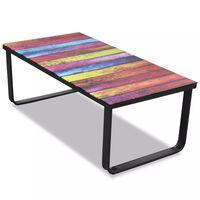 vidaXL Mesa de centro, tampo de vidro com impressão de arco-íris