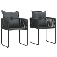 vidaXL Cadeiras de exterior 2 pcs c/ almofadões vime PE preto