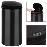 vidaXL Caixote do lixo com sensor automático 50 L aço carbono preto