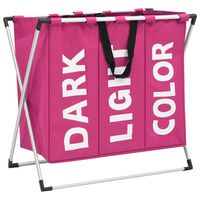 vidaXL Separador de roupa suja de 3 secções rosa