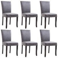 vidaXL Cadeiras de jantar 6 pcs camurça artificial cinzento