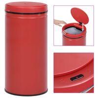 vidaXL Caixote do lixo com sensor automático 70 L aço carbono vermelho