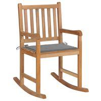 vidaXL Cadeira de baloiço com almofadão cinzento teca maciça