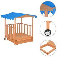 vidaXL Casa de brincar infantil c/ caixa areia madeira abeto azul UV50