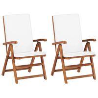 vidaXL Cadeiras jardim reclináveis + almofadões 2pcs teca maciça creme