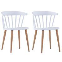 vidaXL Cadeiras de jantar 2 pcs plástico branco