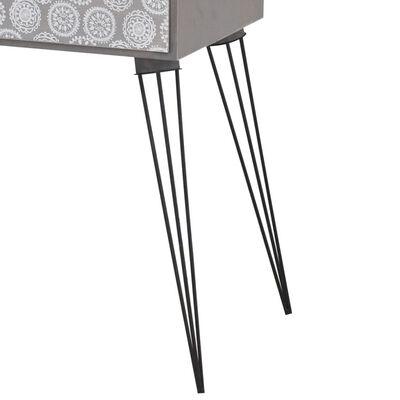 vidaXL Mesa de cabeceira com 1 gaveta retangular cinzento