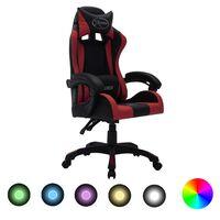 vidaXL Cadeira corrida luzes LED RGB couro arti. vermelho tinto/preto
