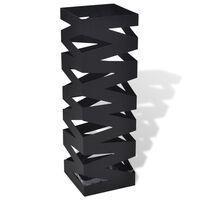 Suporte guarda-chuvas/de armazenamento quadrado preto aço 48,5 cm