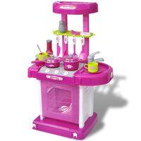 Cozinha infantil de brincar com efeito de luz e som, rosa