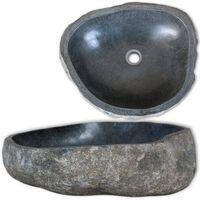 vidaXL Lavatório pedra do rio oval 30-37 cm