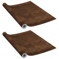 vidaXL Autocolante para móveis 2 pcs 500x90 cm PVC cor carvalho escuro