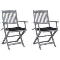 vidaXL Cadeiras exterior dobráveis c/ almofadões 2 pcs acácia maciça