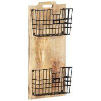 vidaXL Porta-revistas de parede 33x10x67 cm mangueira áspera maciça