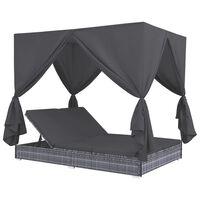 vidaXL Espreguiçadeira de exterior com cortinas em vime PE cinzento