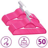 vidaXL 50 pcs conjunto de cabides antiderrapantes veludo rosa