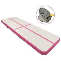 vidaXL Colchão de ginástica insuflável c/ bomba 500x100x20 cm PVC rosa