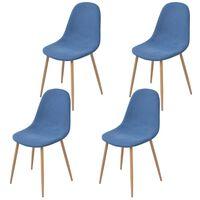 vidaXL Cadeiras de jantar 4 pcs tecido azul