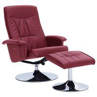 vidaXL Cadeira reclinável c/ apoio pés couro artificial vermelho tinto