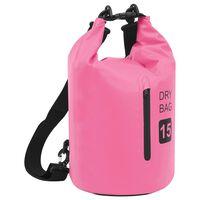 vidaXL Bolsa impermeável com fecho 15 L PVC rosa