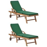 vidaXL Espreguiçadeiras c/ almofadões 2 pcs madeira teca maciça verde