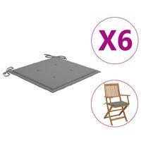 vidaXL Almofadões p/ cadeiras jardim 6 pcs 40x40x4 cm tecido cinzento