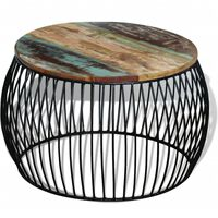 vidaXL Mesa centro redonda 68x43 cm madeira reciclada maciça