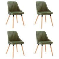 vidaXL Cadeiras de jantar 4 pcs veludo verde-claro