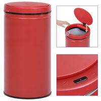 vidaXL Caixote do lixo com sensor automático 60 L aço carbono vermelho