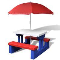 vidaXL Mesa de piquenique com guarda-chuva para crianças