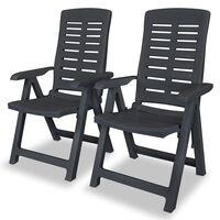 vidaXL Cadeiras jardim reclináveis 2 pcs plástico antracite