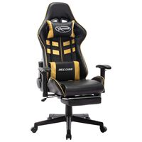 vidaXL Cadeira gaming c/ apoio de pés couro artificial preto/dourado