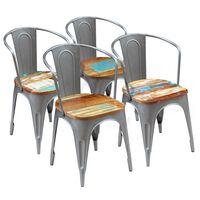vidaXL Cadeiras de jantar 4 pcs madeira recuperada maciça