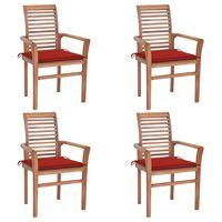 vidaXL Cadeiras de jantar 4 pcs c/ almofadões vermelhos teca maciça
