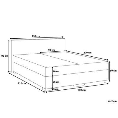 Cama continental marrom - 180x200 cm - Cama de molas - Super King Size,