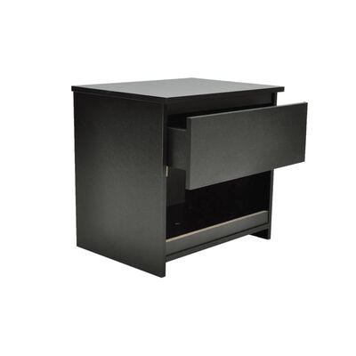 vidaXL Mesa de cabeceira com 1 gaveta 2 pcs preto