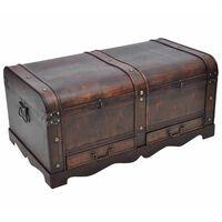 Cofre clássico de tesouro feito de madeira - mesa de café castanha