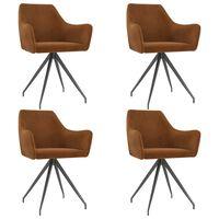 vidaXL Cadeiras de jantar 4 pcs veludo castanho