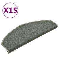 vidaXL Tapete/carpete para degraus 15 pcs 65x24x4cm verde-escuro