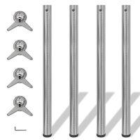 4 pernas de mesa, altura ajustável, níquel escovado 870 mm