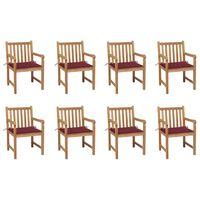 vidaXL Cadeiras de jardim almofadões vermelho tinto 8 pcs teca maciça