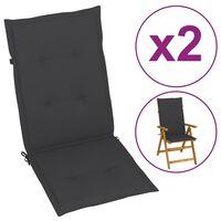 vidaXL Almofadões para cadeiras de jardim 2 pcs 120x50x4 cm antracite