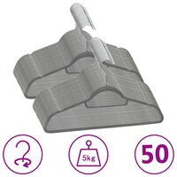 vidaXL 50 pcs conjunto de cabides antiderrapantes veludo cinzento