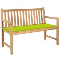 vidaXL Banco de jardim c/ almofadão verde brilhante 120 cm teca maciça