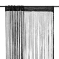 vidaXL Cortinas de fios 2 pcs 100x250 cm preto