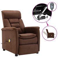 vidaXL Poltrona de massagens reclinável elétrica camurça castanho