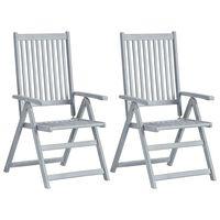 vidaXL Cadeiras jardim reclináveis 2 pcs madeira acácia maciça cinza