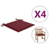 vidaXL Almofadões cadeiras jardim 4pcs 50x50x4cm tecido vermelho tinto