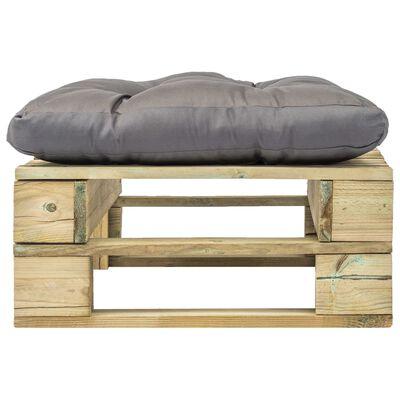 vidaXL Otomano de paletes com almofadão cinzento madeira verde