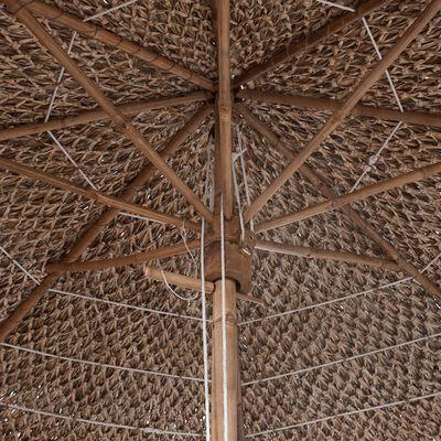 vidaXL Guarda-sol de bambu 270 cm cobertura em folhas de bananeira